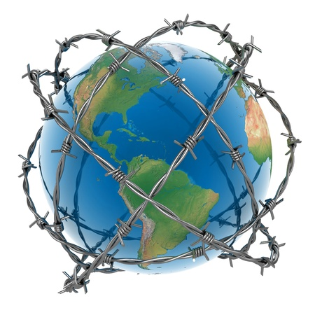 barb wire isolated: 3d earth surrounded by barbed wire over white background