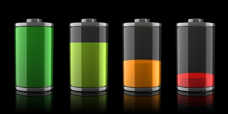charger: 3d Battery icons with different charge levels on black background  Stock Photo