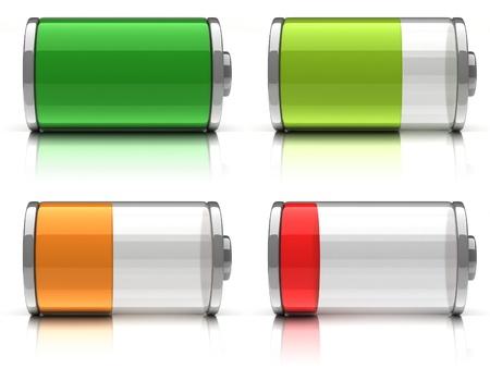 bateria: 3d iconos de la bater�a con diferentes niveles de carga en el fondo blanco Foto de archivo