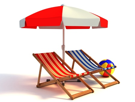 beach umbrella: two beach chairs under sunshade 3d illustration  Stock Photo