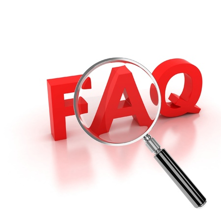 frequently: frequently asked questions icon - FAQ 3d letters under the magnifier