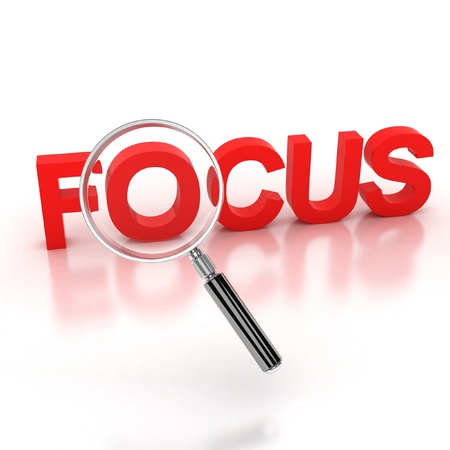in the focus icon - focus 3d letters under the magnifier  photo