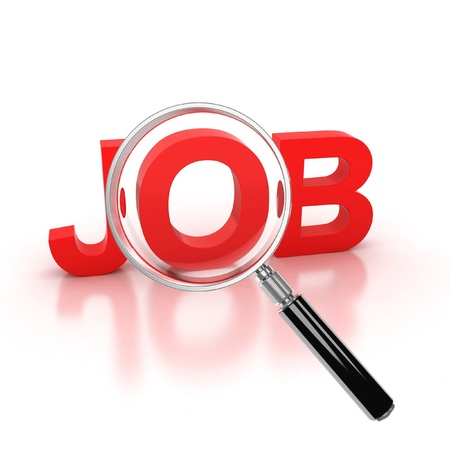 job hunt: job search icon - job 3d letters under the magnifier