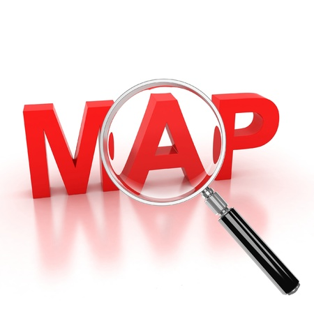 orienting: explore map icon - map 3d letters under the magnifier Stock Photo