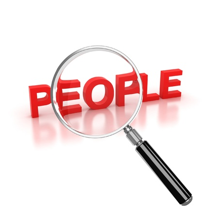 resources: find people icon - people 3d letters under the magnifier