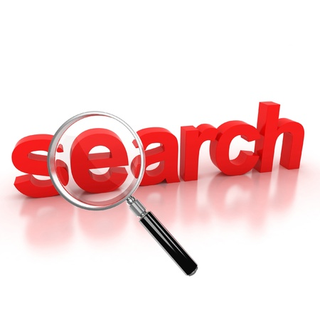 archives: search icon - search 3d letters under the magnifier  Stock Photo