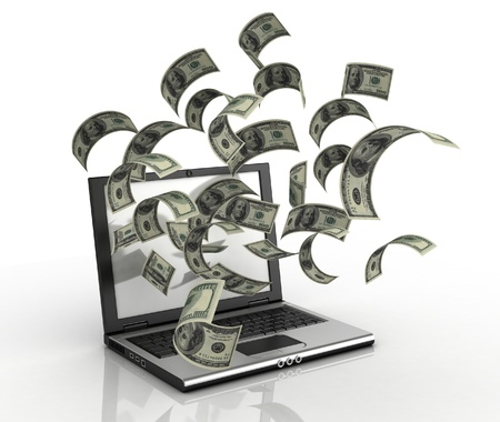 money pile: earning money over the internet 3d concept - dollars running out of computer