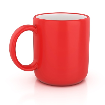 porcelain plate: red cup isolated