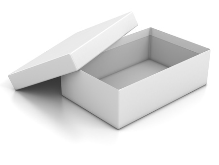 blank box:  white open empty box isolated over white background 3d illustration