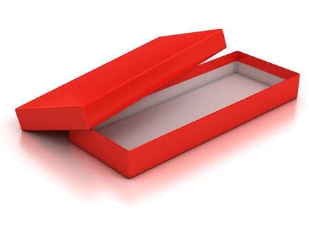 red open empty box isolated over white background  photo
