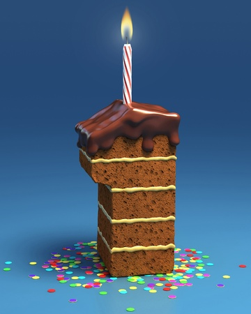 number one shaped birthday cake with candle  photo