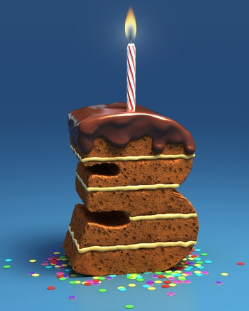 fancy cake: number three shaped birthday cake with candle  Stock Photo