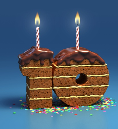 tenth: Chocolate birthday cake surrounded by confetti with lit candle for a tenth birthday or anniversary celebration
