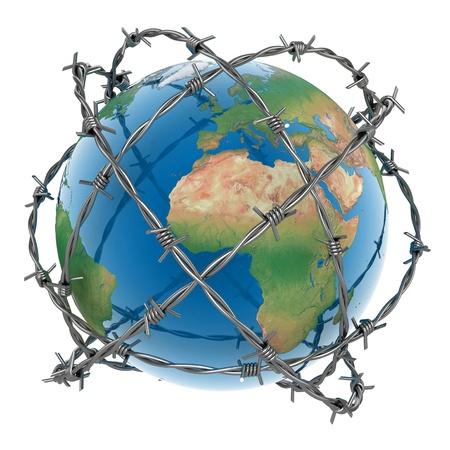 barbed wires: Earth 3D rodeado por alambre de p�as sobre fondo blanco