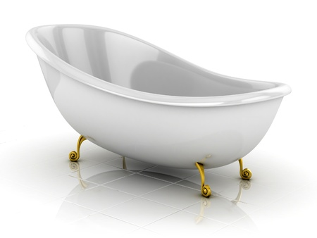 bathtub: classic bathtub isolated on the white  Stock Photo