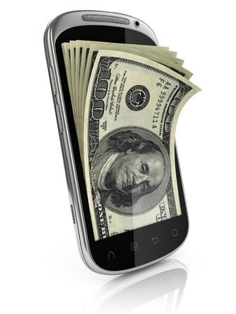 mobile banking: smart phone money earning 3d concept