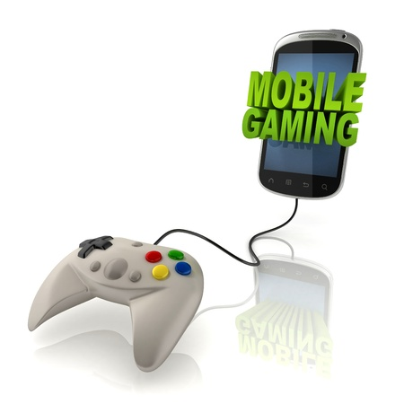 game pad: mobile gaming 3d concept - smart phone with gamepad  Stock Photo