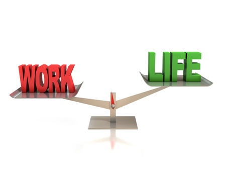 imbalance: leven en werk balans 3d concept Stockfoto