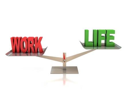 la vie et le concept 3d équilibre entre le travail