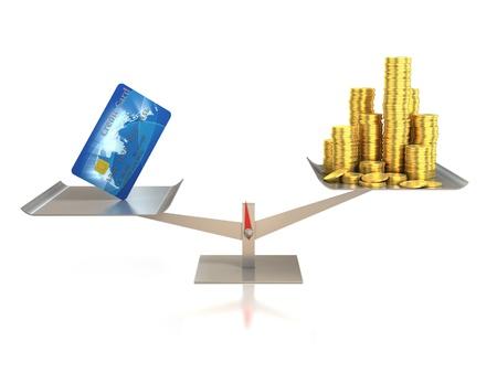 bank overschrijving: creditcard en gouden munten op weegschaal Stockfoto