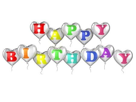felicitaciones cumpleaÑos: 3D Feliz Cumpleaños globos de helio aisladas sobre fondo blanco
