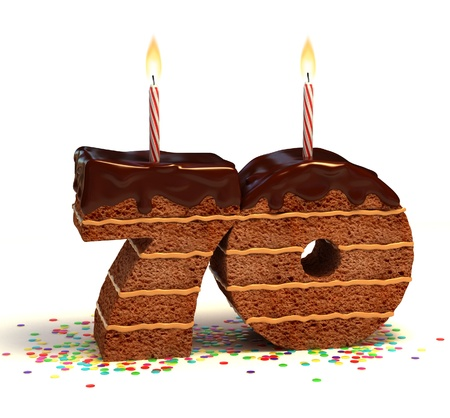 seventieth: Chocolate birthday cake surrounded by confetti with lit candle for a seventieth birthday or anniversary celebration
