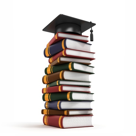 Graduation Cap on Book Stack 3d