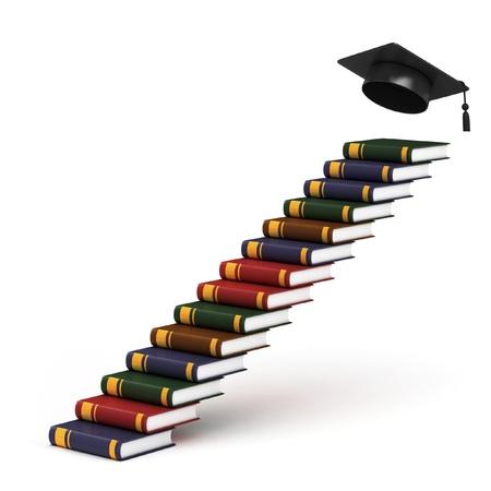 gorros de graduacion: camino a la graduación - Escaleras de libros de concepto 3d Foto de archivo