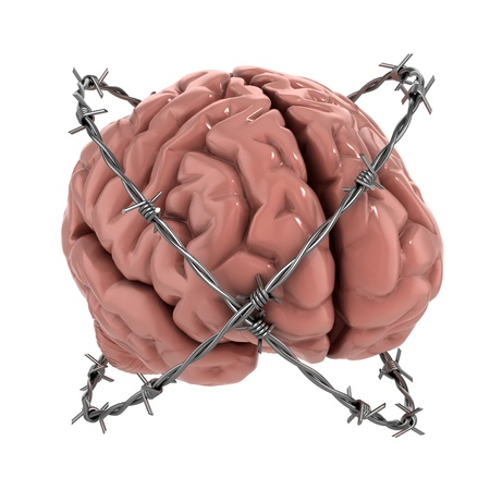 prisoner man: Free thought, censorship, freedom of speech 3d concept - human brain under barbwire over white background