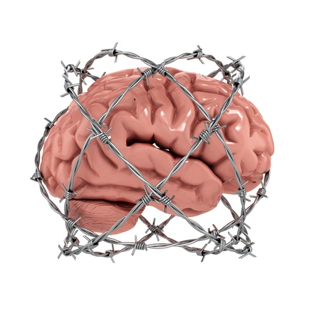 trapped: Free thought, censorship, freedom of speech 3d concept - human brain under barbwire over white background