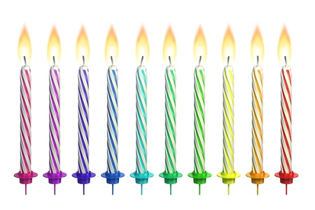 birthday decoration: colorful lit candles isolated over white  Stock Photo