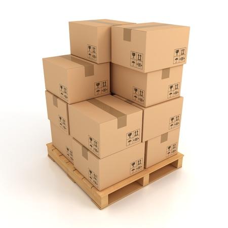 palet: cajas de cart�n en la ilustraci�n 3D de madera paleta