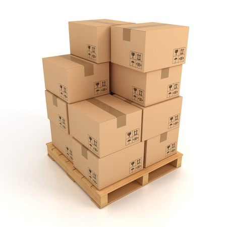 ship parcel: cardboard boxes on wooden palette 3d illustration  Stock Photo