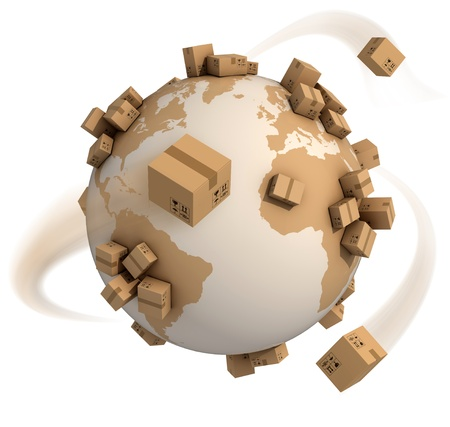cardboard: cardboard boxes around the world - global shipment 3d concept