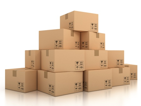 send parcel: cardboard boxes  Stock Photo