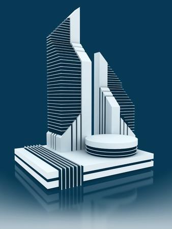 sky scraper: modern business center 3d concept