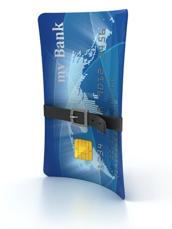 economic downturn: credit card with tighten belt 3d concept  Stock Photo