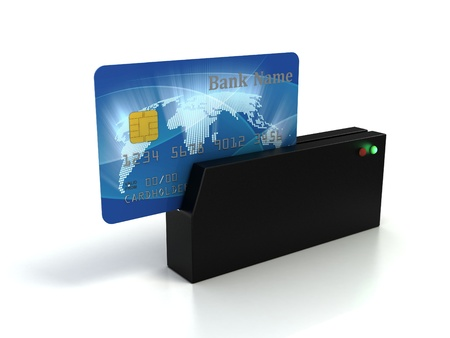 credit card debt: credit card checking  Stock Photo