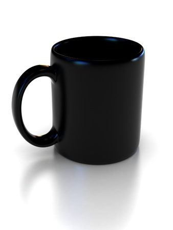 blank black cup on the white background suitable for placing logo or your text on it  photo