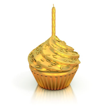 golden cupcake 3d rendering - best cupcake trophy , photo