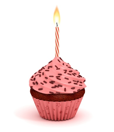 cupcake 3d illustration - birthday dessert with lit candles isolated on the white background  illustration
