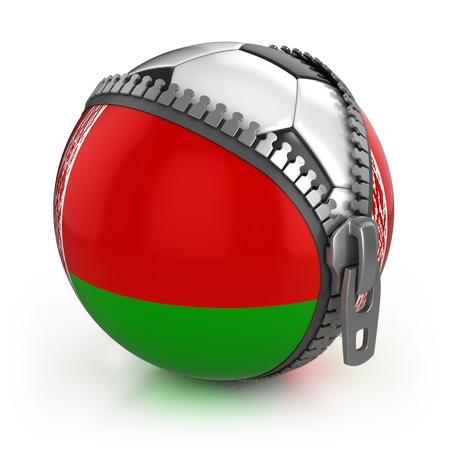 Belarus football nation - football in the unzipped bag with Belarusian flag print  Stock Photo - 12331218