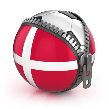 Denmark football nation - football in the unzipped bag with Denmark flag print  photo