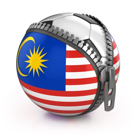 unzipped: Malaysia football nation - football in the unzipped bag with Malaysian flag print  Stock Photo