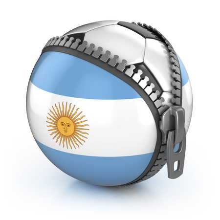 Argentina football nation - football in the unzipped bag with Argentina's flag print  photo
