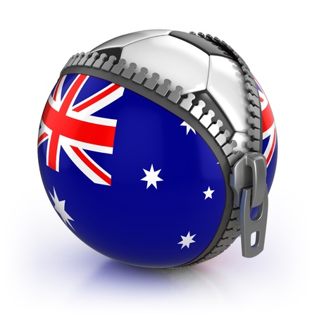 australia football nation - football in the unzipped bag with australian flag print  photo