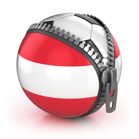 unzipped: Austria football nation - football in the unzipped bag with Austrian flag print  Stock Photo