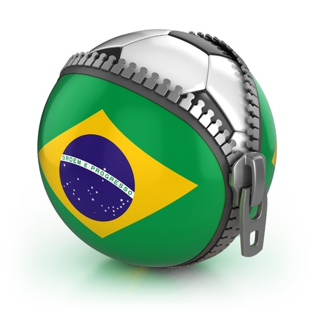 football trophy: Brazil football nation - football in the unzipped bag with Brazilian flag print  Stock Photo