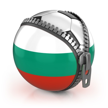 Bulgaria football nation - football in the unzipped bag with Bulgarian flag print Stock Photo - 12331149