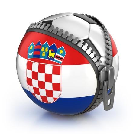 unzipped: Croatia football nation - football in the unzipped bag with Croatian flag print  Stock Photo